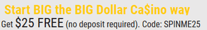 Big Dollar $25 no deposit bonus code
