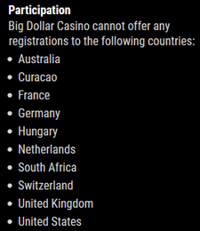 Big Dollar Casino excluded countries