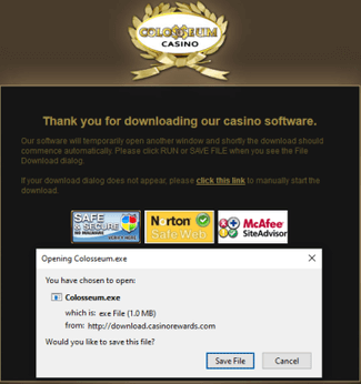 Downloading Colosseum Casino's software