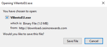Downloading Villento Casino's software